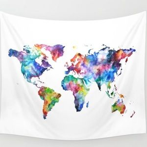 """Colorful Watercolor worldmap wall tapestry 51""""X60"""""""